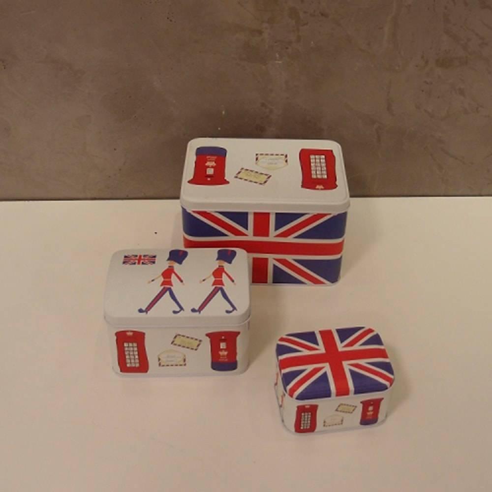 Conjunto de Latas Londres Brancas - 3 Peças - em Alumínio - 18x13 cm