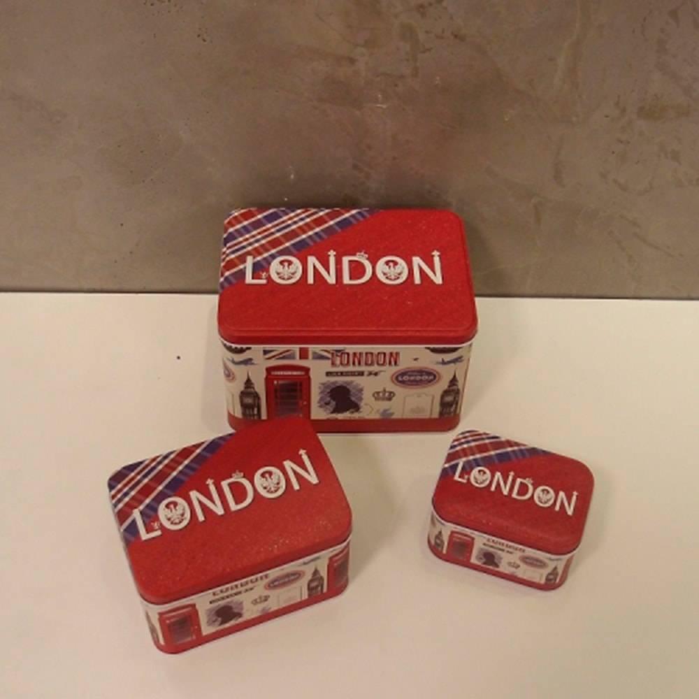 Conjunto de Latas Londres Vermelhas - 3 Peças - em Alumínio - 18x12 cm