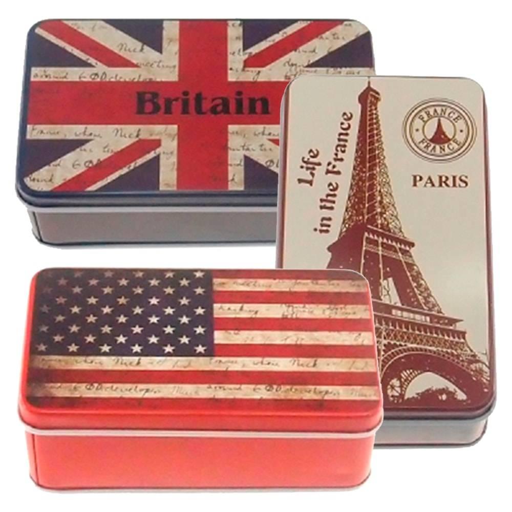 Conjunto de Latas Retangulares Europa e USA - 10 Peças - em Alumínio - 11x6 cm