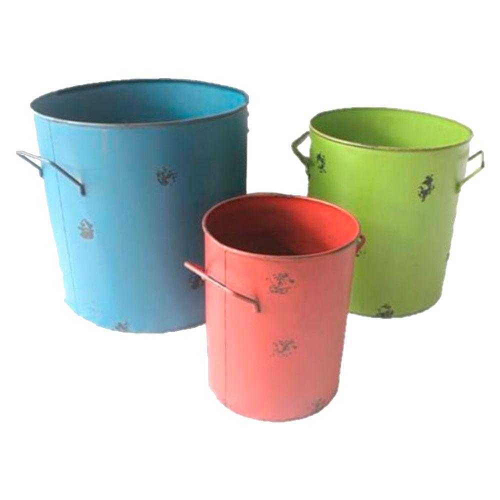 Conjunto de Latões Coloridos - 3 Peças - em Ferro - 38x33 cm