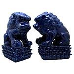 Conjunto de Leões Fu em Cerâmica Azul - 30x23 cm