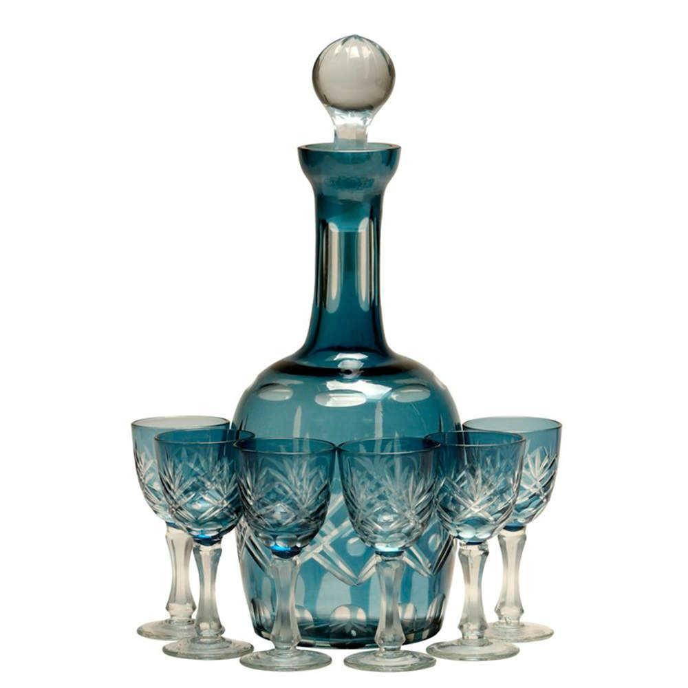 Conjunto Licoreira e Taças Azul em Vidro Lapidado - 33x14 cm