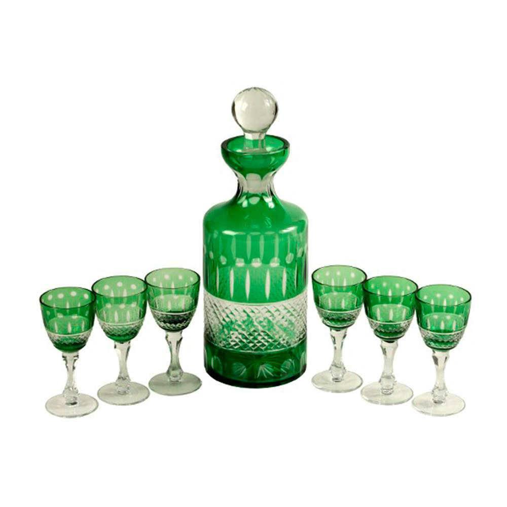 Conjunto Licoreira e Taças Esmeralda em Vidro Lapidado - 31x16 cm