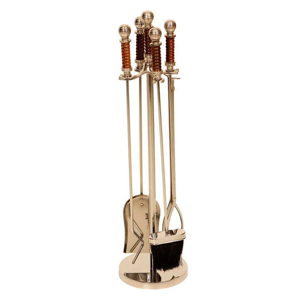 Conjunto para Limpeza de Lareira - 5 Peças - em Aço Inox com Cabos em Madeira - 79x20 cm