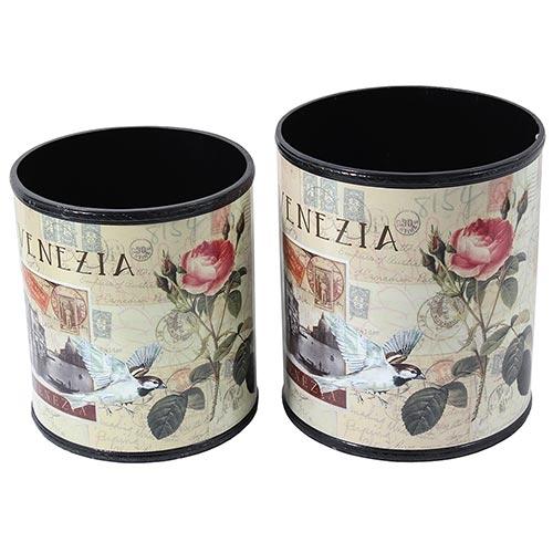 Conjunto de Lixeira Venezia Flores Fullway - 29x26 cm
