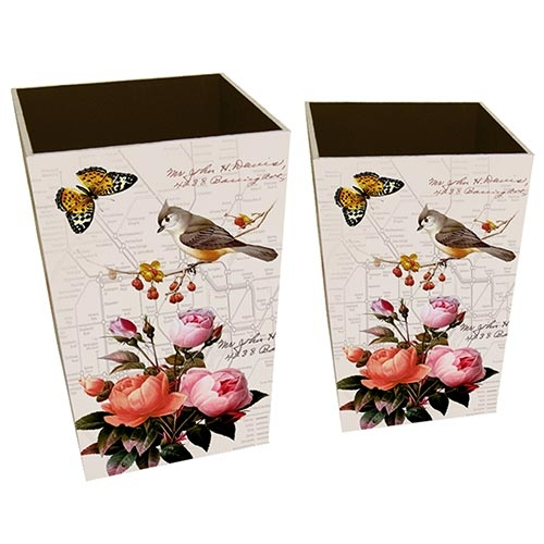Conjunto de Lixeiras Birds and Butterflies Collection Vell Chic - 40x26 cm