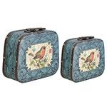 Conjunto de Maletas Azul Arabescos c/ Pássaro Fullway - 33x39 cm