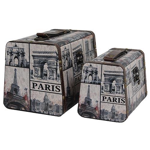Conjunto de Maletas Paris Envelhecidas Oldway - 2 Peças - 24x18 cm
