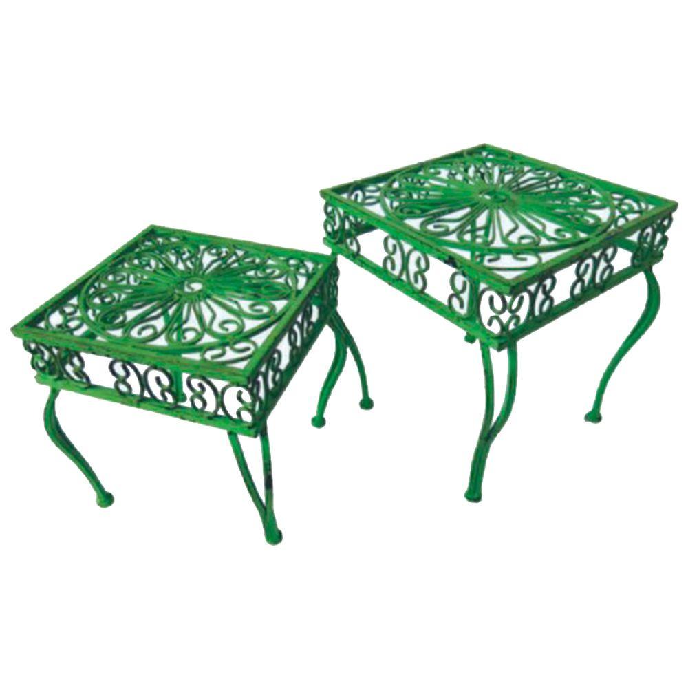 Conjunto de Mesas Laterais Provençal Arabescos Vazadas - 2 Peças - Verdes Quadradas em Ferro - 32x28 cm