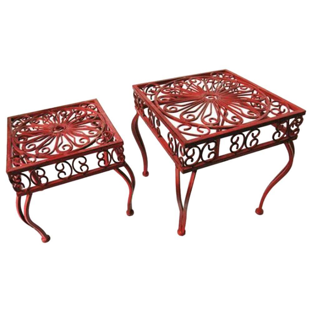 Conjunto de Mesas Laterais Provençal Arabescos Vazadas - 2 Peças - Vermelhas Quadradas em Ferro - 32x28 cm