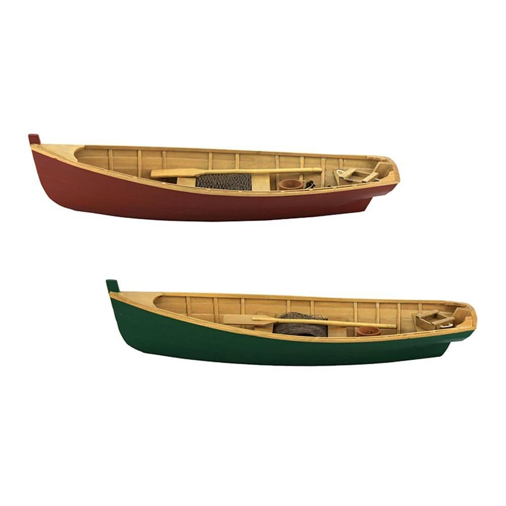 Conjunto Miniaturas Canoa Antares - 2 Peças - Marrom/Verde em Madeira - 40x13 cm