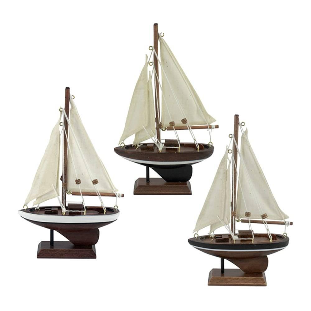 Conjunto Miniaturas Veleiro Classic - 3 Peças - Marrom em Madeira - 20x12 cm