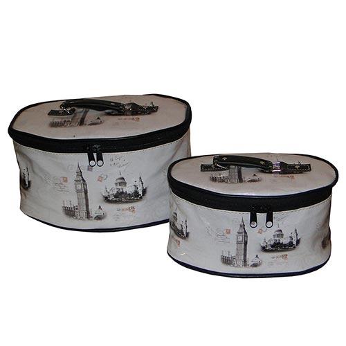 Conjunto de Necessaires - 2 Peças - London Branco/Preto Fullway em Couro Sintético - 26x18 cm