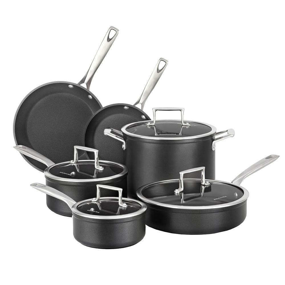 Conjunto de Panelas de Alumínio Anodizado KitchenAid 6 Peças Black Metallic - KI999AE