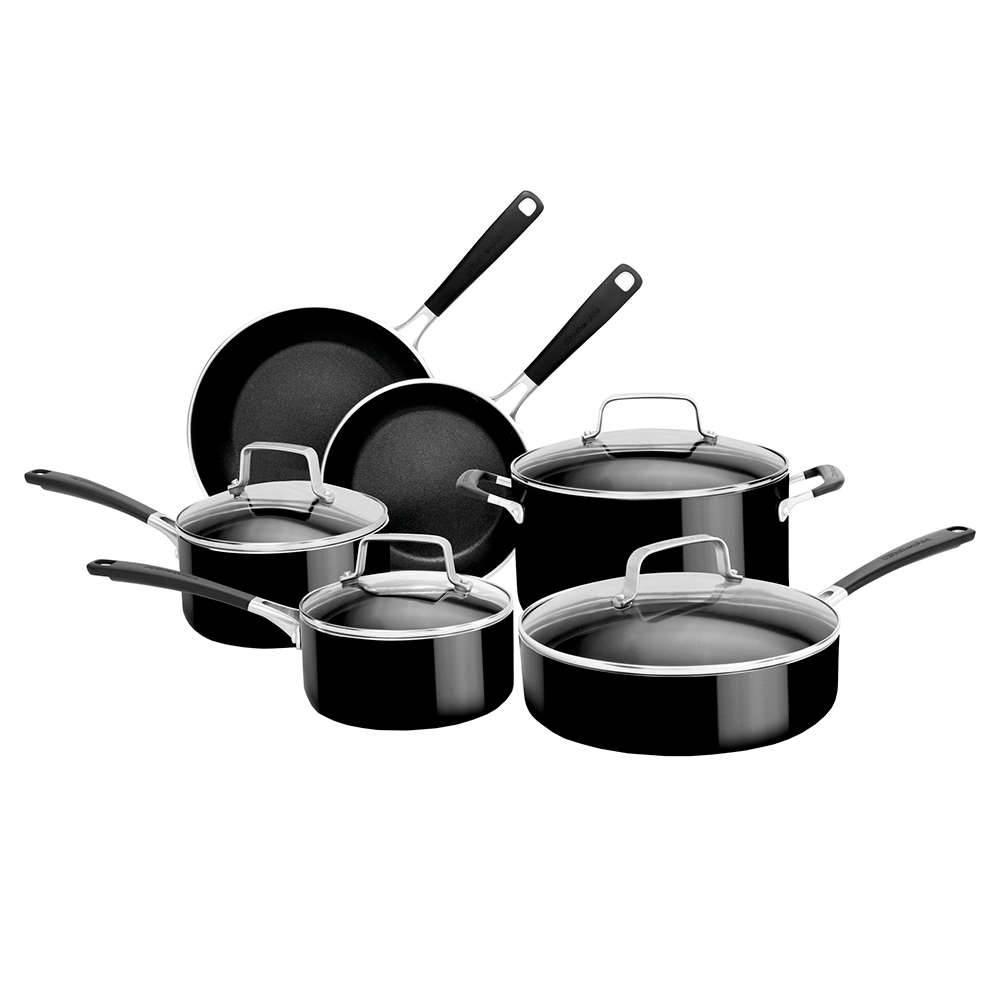 Conjunto de Panelas de Alumínio Esmaltado KitchenAid 6 Peças Onyx Black - KI996CE - 61,8x37,2 cm