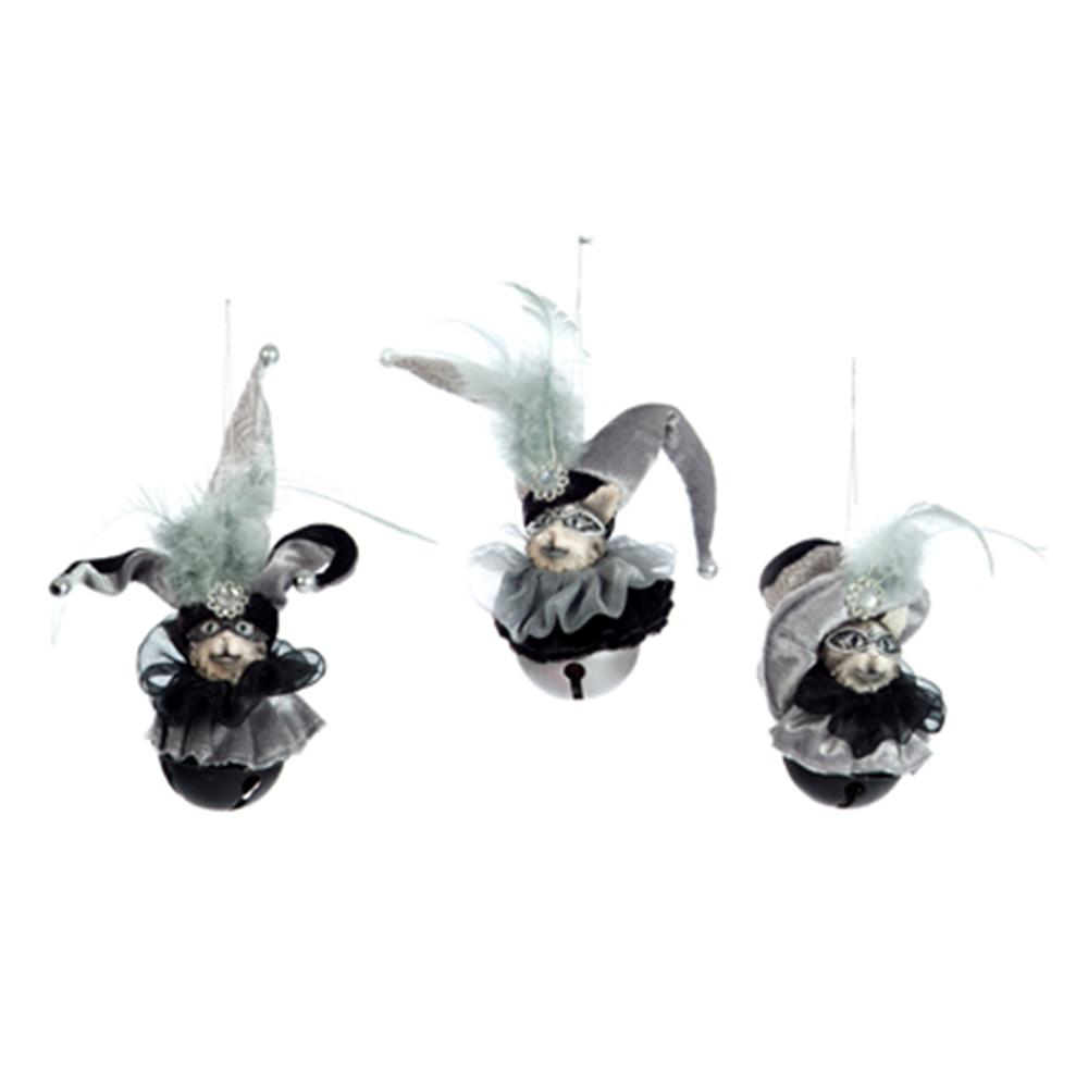 Conjunto de Pendentes Decorativos Bobo da Corte - com Sino - em Tecido - 20x8 cm
