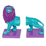 Aparador de Livros Leão Azul e Roxo Fullway em Resina - 26x23 cm
