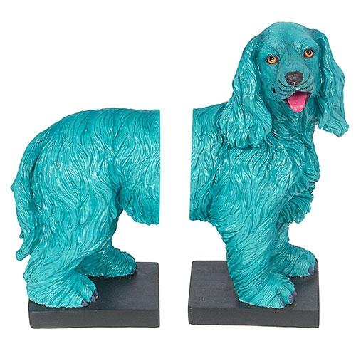 Aparador de Livros Cachorro Azul Fullway em Resina - 30x29 cm