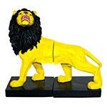 Aparador de Livros Leão Amarelo e Preto Fullway em Resina - 26x23 cm