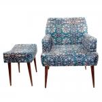 Conjunto Poltrona e Puff Arabescos Azuis - Tecido Classic - Fullway - 74,5x69 cm