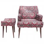 Conjunto Poltrona e Puff Arabescos Vermelhos - Tecido Classic - Fullway - 74,5x69 cm