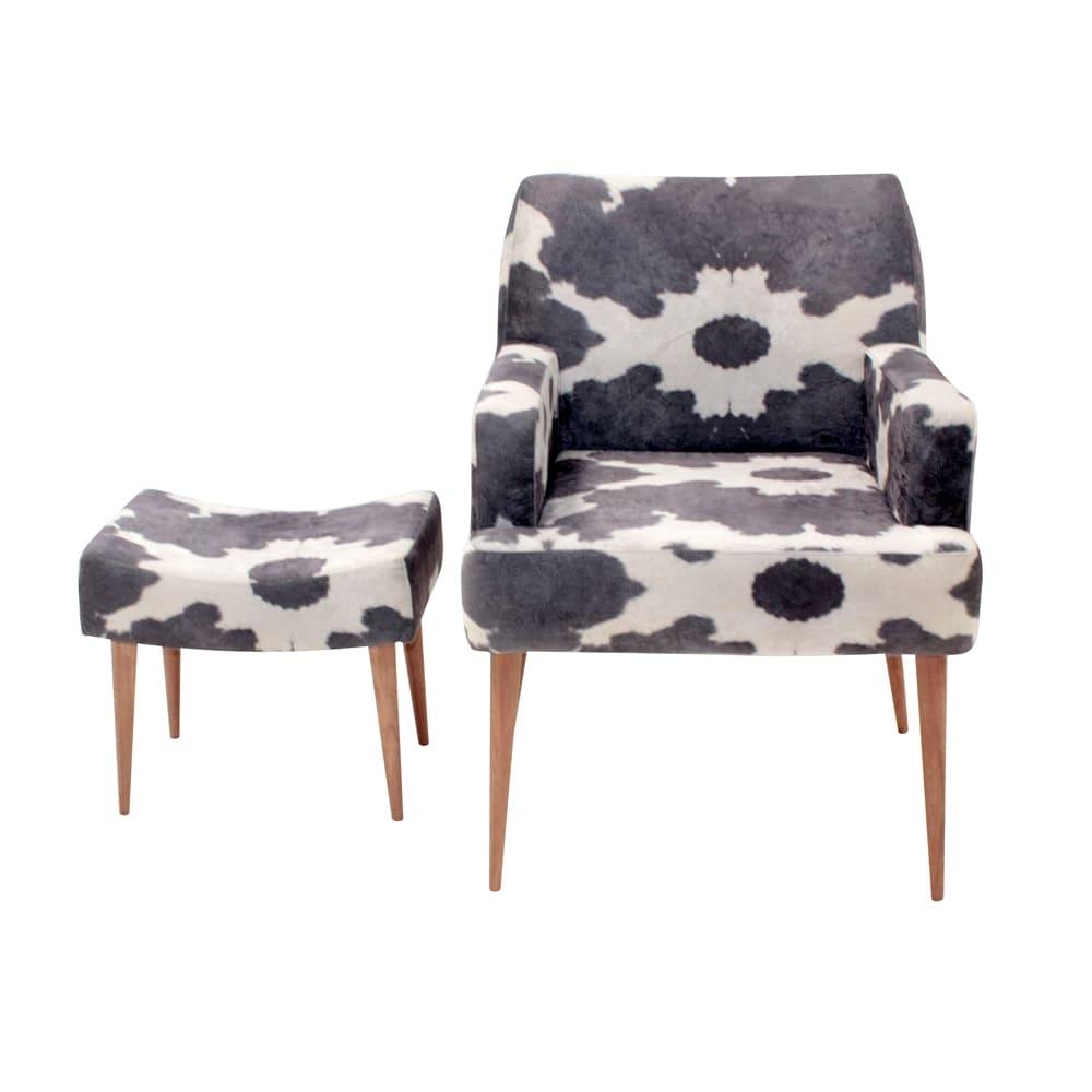 Conjunto Poltrona e Puff Cow Preto e Branco - Tecido Classic - Fullway - 74,5x69 cm