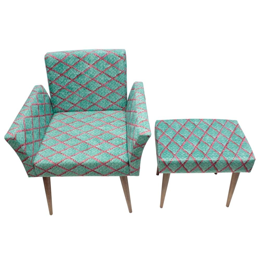 Conjunto Poltrona e Puff Losangos Verde - Tecido Classic - Fullway - 72,5x65 cm