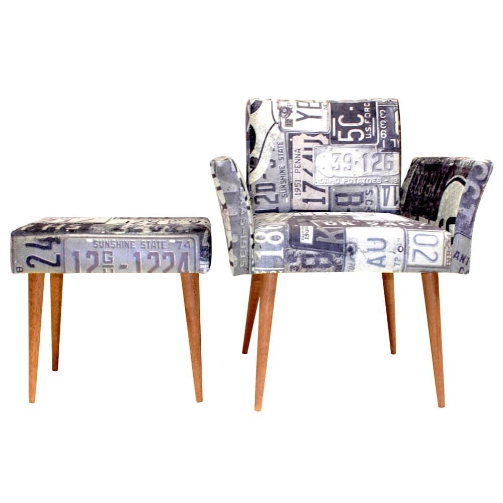 Conjunto Poltrona e Puff Placas Preto e Branco - Tecido Classic - Fullway - 72,5x65 cm