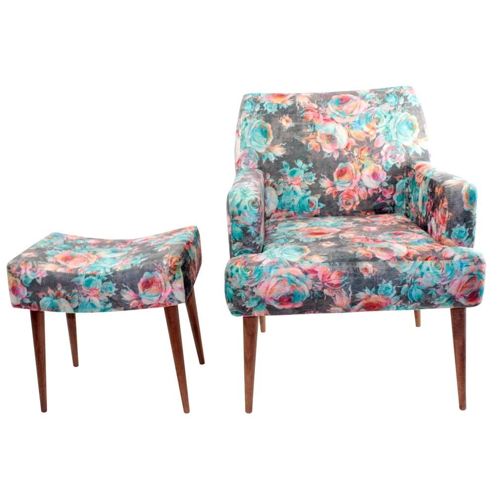 Conjunto Poltrona e Puff Rosas Azuis - Tecido Classic - Fullway - 74,5x69 cm