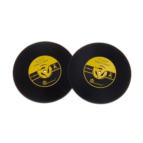 Porta-Copos Disco de Vinil Amarelo - 2 Peças - em Borracha - 10x10 cm