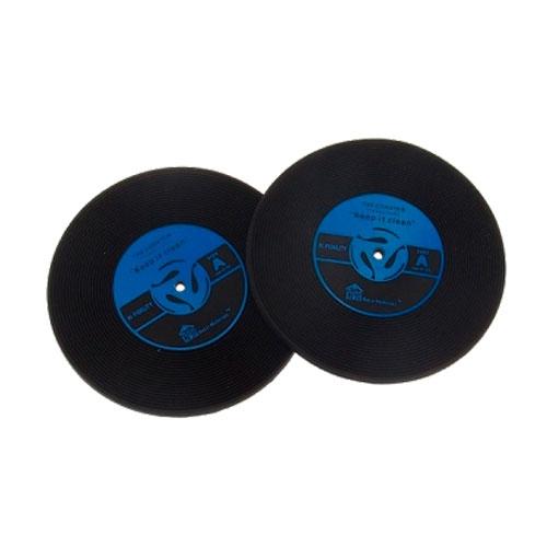 Porta-Copos Disco de Vinil - 2 Peças - Azul e Preto em Borracha - 10x10 cm