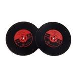 Porta-Copos Disco de Vinil Vermelho - 2 Peças - em Borracha