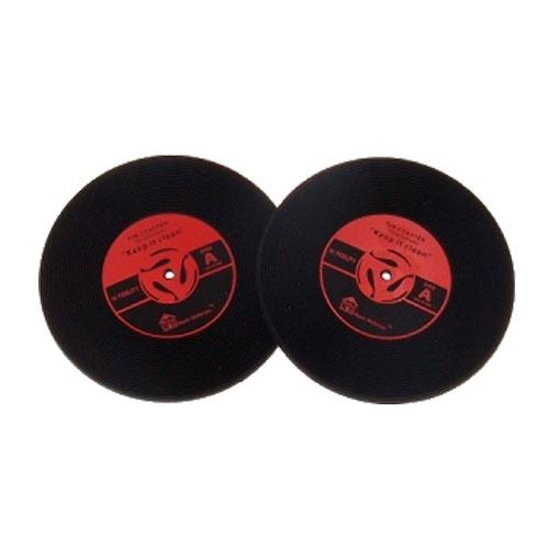 Porta-Copos Disco de Vinil Vermelho - 2 Peças - em Borracha - 10x1 cm