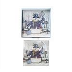 Porta-Copos Boneco de Neve Vestido - 6 Peças - em Vidro - 8,5x8,5 cm