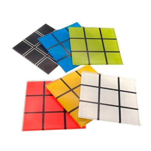Porta-Copos Jogo Cubo Mágico Colorido - 6 Peças - em Vidro - 11x4 cm
