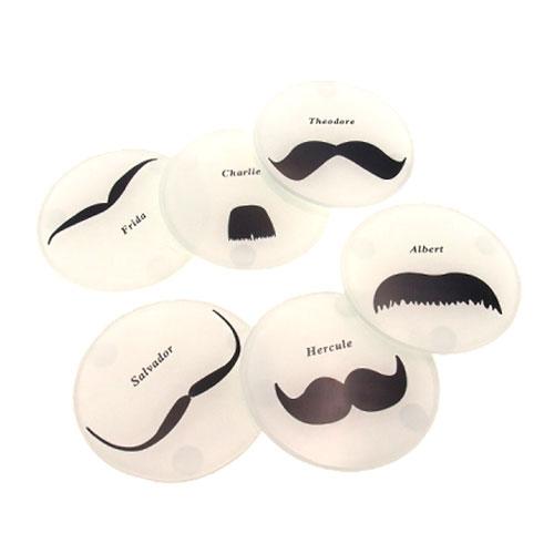 Porta-Copos Mustache Preto/Branco - 6 Peças - em Vidro - 11x11 cm