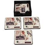 Porta-Copos Selos Paris Pássaro Fullway - 6 Peças - em Resina - 10x10 cm