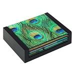 Porta-Copos Verde Penas de Pavão - 4 Peças - em Vidro - 12x10 cm