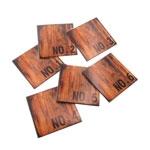 Porta-Copos Wood Marrom - 6 Peças - em Vidro - 11x11 cm