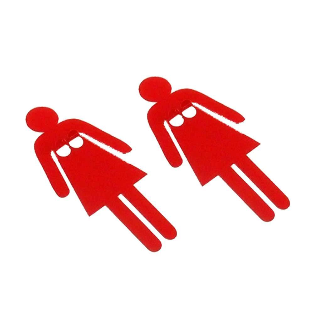 Conjunto Porta-Chaves Mulher - 2 Peças - Vermelho em Metal - 14x7 cm