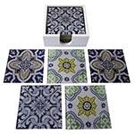 Porta-Copos Azulejos Português Azul - 6 Peças - em Vidro - 9x9 cm