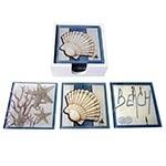 Porta-Copos Beach Mar Azul e Branco - 6 Peças - em Vidro