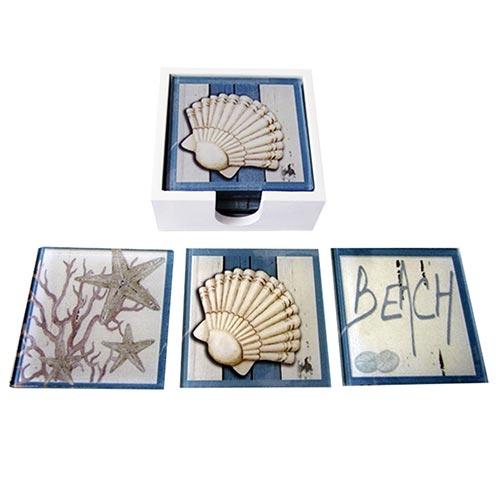 Porta-Copos Beach Mar Azul e Branco - 6 Peças - em Vidro - 9x9 cm