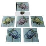 Porta-Copos Borboletas Coloridas - 6 Peças - em Vidro - 9x9 cm