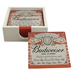 Porta-Copos Cerveja Budweiser Vermelho - 6 Peças - em Vidro - 9x9 cm