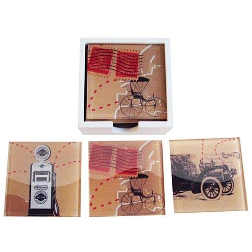 Porta-Copos Calhambeque Preto e Bomba de Gasolina - 6 Peças - em Vidro - 9x9 cm