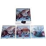 Porta-Copos Conchas do Mar - 6 Peças - em Vidro - 9x9 cm