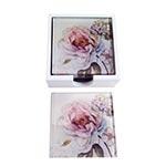 Porta-Copos Flor Hortência Rosa - 6 Peças - em Vidro - 9x9 cm