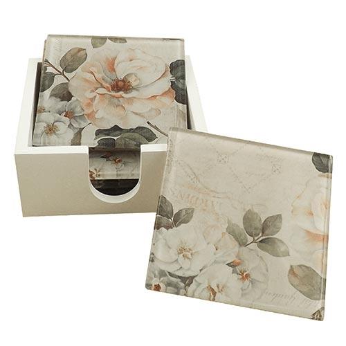Porta-Copos Flor Magnólia Branca - 6 Peças - em Vidro - 9x9 cm
