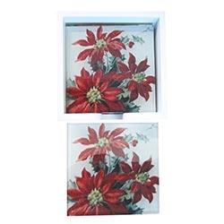 Porta-Copos Flor de Natal Vermelho - 6 Peças - em Vidro